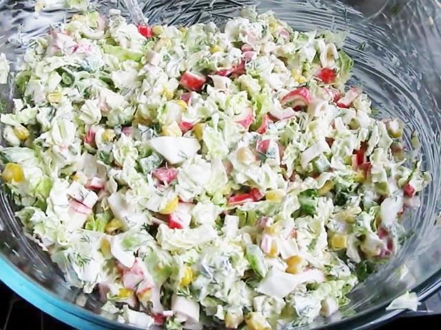 И крабовый салат с пекинской капустой рецепт с