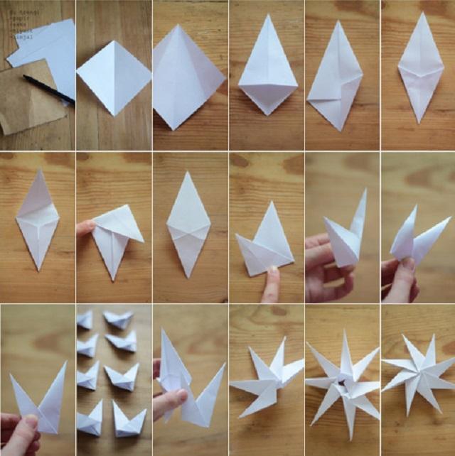Схема снежинки в стиле оригами