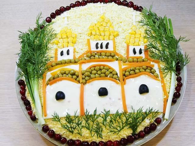 Салат «Пасхальный храм» — вкусный салат на Пасху