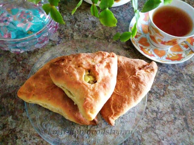 Эчпочмак по-татарски из теста на кефире без дрожжей