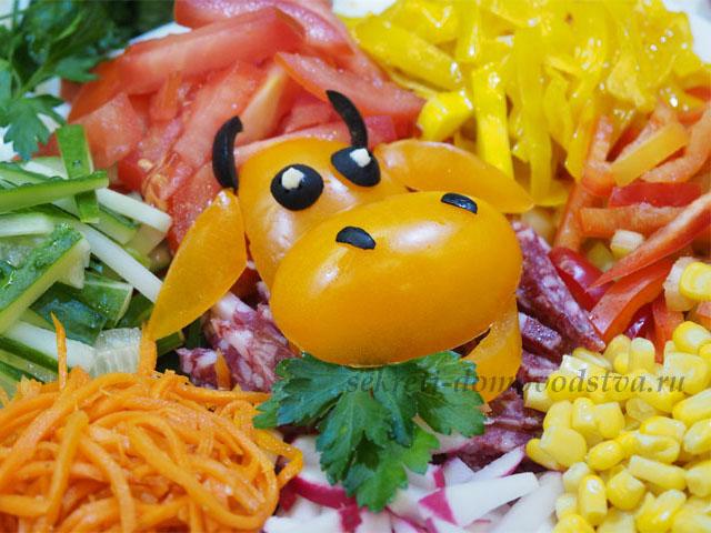 Салат «Бык в огороде» — новогодний пошаговый рецепт
